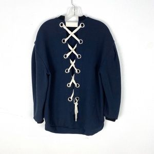 Zara sweatshirt corset lace up back pullover Navy